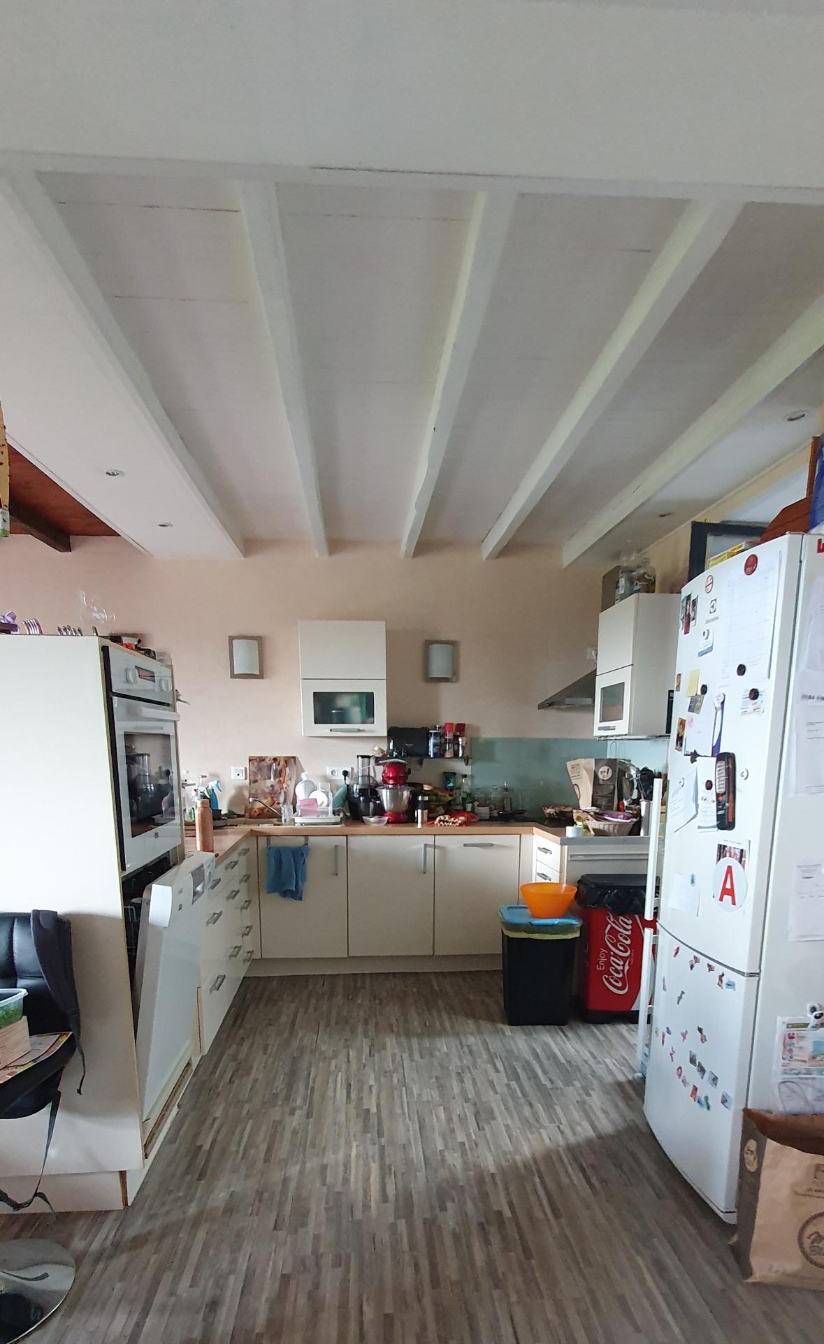 La cuisine équipée avec lave vaisselle, plaque de cuisson hotte